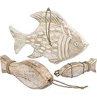 COM-FOUR® 3X Pesce Decorativo in Legno per Appendere - Pesce in Legno Come Decorazione e Regalo - Decorazione pensile Marittima per la casa (03 Pezzi - Pesce Rosso)