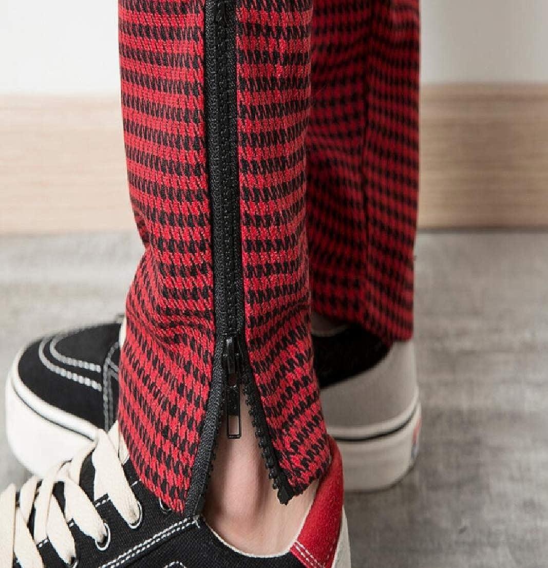 Generic Mens Leisure Straight Fit Ankle-Zip Plaid Harem Drawstring Jogger Pants