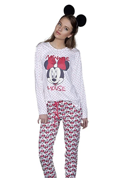 Disney - Pijama Largo Para Mujer Minnie Mouse, Color: Fresa, Talla: XS