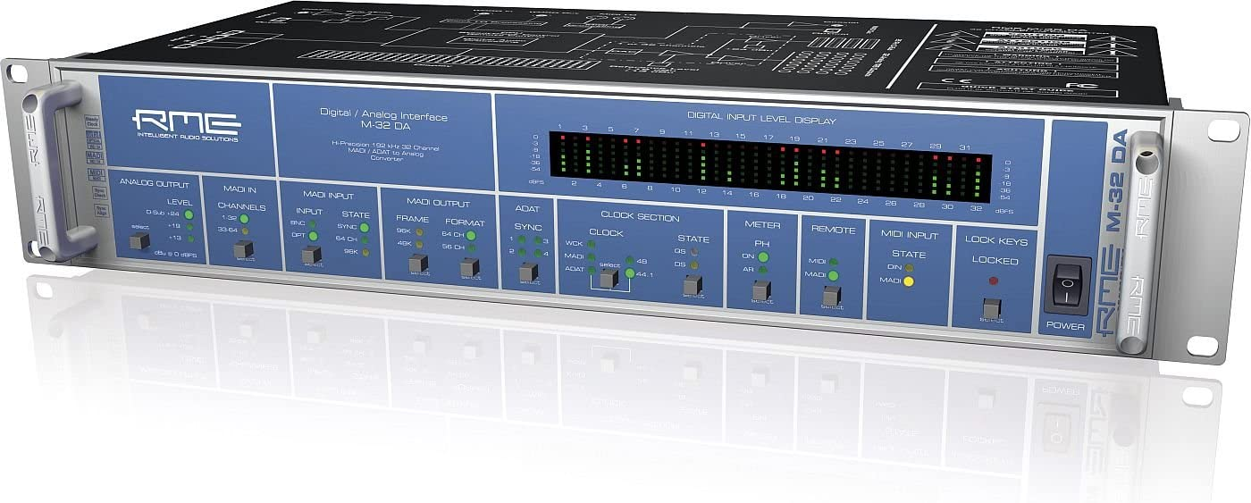 M-32 DA Fully Symmetrical Designed 32-Channel High-End MADI//ADAT to Analog Converter M-32 DA with MADI Technology Capable of 64 Channels RME