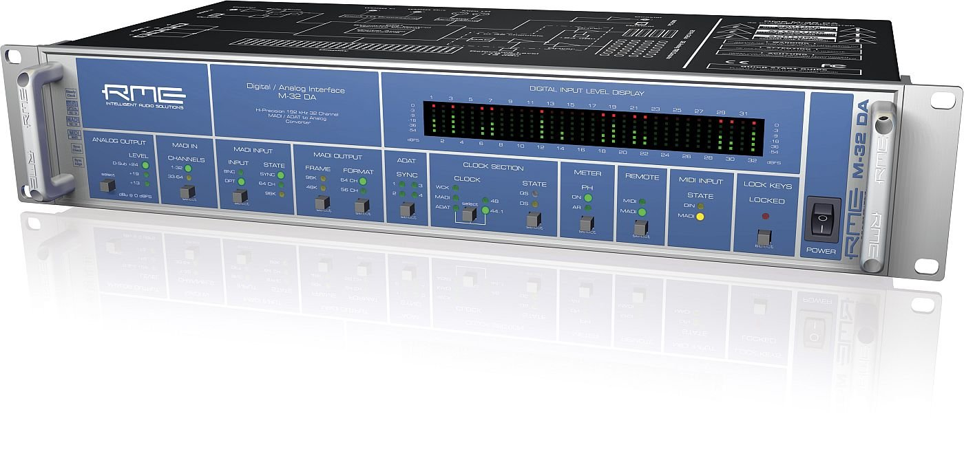 RME | Fully Symmetrical Designed 32-Channel High-End MADI/ADAT to Analog Converter, M-32 DA with MADI Technology Capable of 64 Channels (M-32 DA)