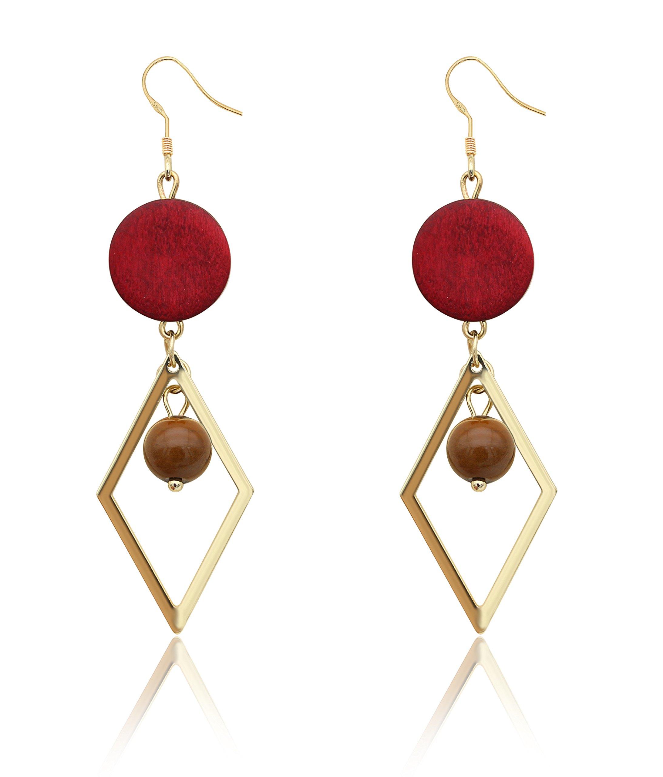 KristLand - S925 Silver Geometric Drop Earrings 3D Long Pendant Stone Wood Thread Tassel Earrings Fringe Dangle Rombo