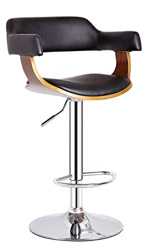 AC Pacific Contemporary Hydraulic Lift Adjustable Swivel Barstool with Padded Armrests, Seat and Back, 24 -32 , Wood