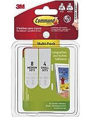 3M Command Pack de 12 paires de Languettes Repositionnables : 8 paires  Moyennes, 4 paires Petites