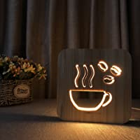Night Light for Kids Coffee Wooden 3D Lamp Creative Wooden Lights Simple Decorative Lights 3D Wood Carving Pattern LED…