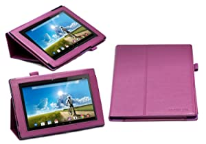 "Navitech Acer Iconia A3-A20 10"" Purple Faux Leather Multi Stand Case/Cover with Stylus & Handstrap"