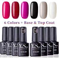 Vernis Gel Semi Permanent - Y&S UV LED Vernis à Ongles Gel Soak Off Débutant Kit 6 Couleurs Plus Top et Base Coat, 8ml Chaque Flacon, Lot Couleurs Classiques