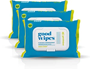 Goodwipes Flushable & Biodegradable Wipes with Botanicals, Dispenser for At-Home Use Safe, Shea-Coco with Aloe, Septic and Sewer Safe, 180 count (3 packs) - Never Dries Out