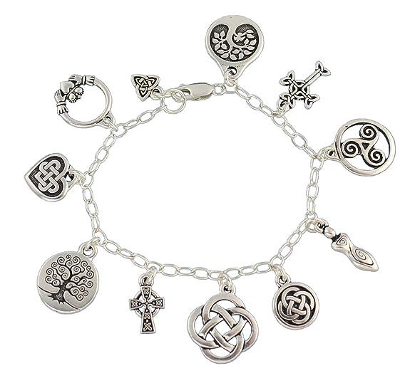Amazon Com Celtic Symbols Silver Charm Bracelet