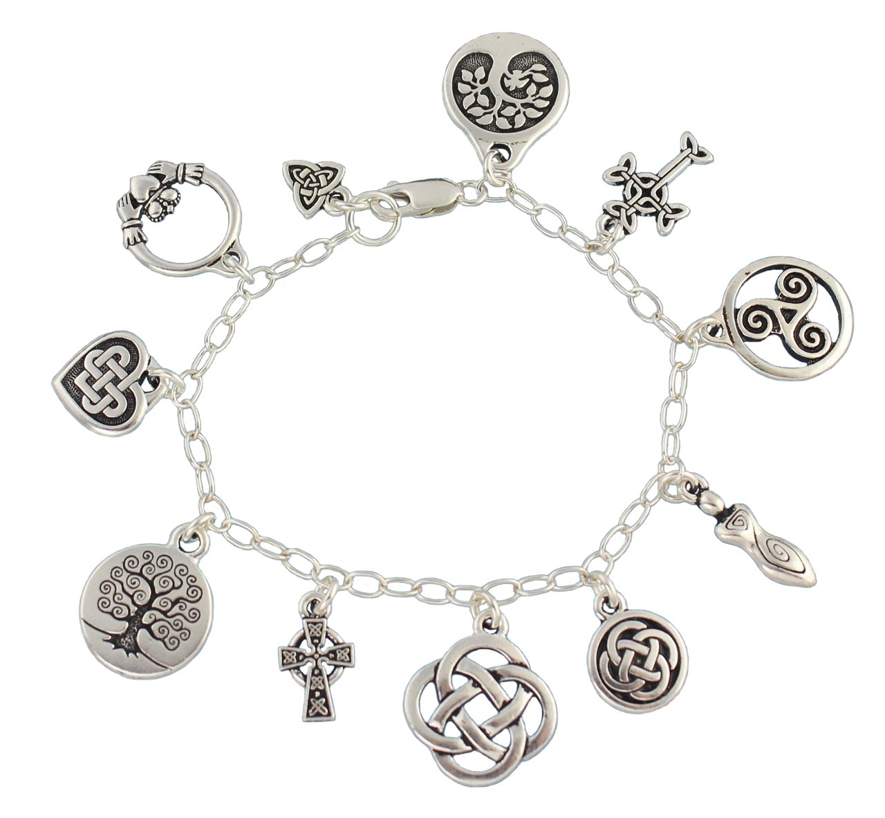 Celtic Symbols Silver Charm Bracelet - Claddagh, Celtic Knots, Tree of Life, Cross, Goddess- 6.5 Inches (XS)