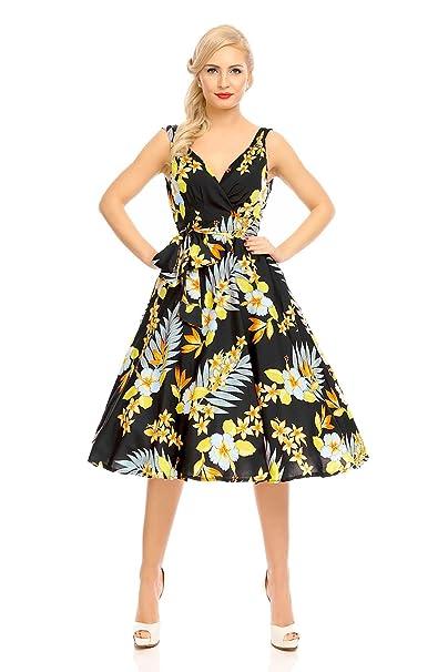 416cf1f12 Looking Glam Mujer Retro Vintage Rockabilly Pin- Up Vestido con Vuelo  Fiesta Vestido de Flores - Negro