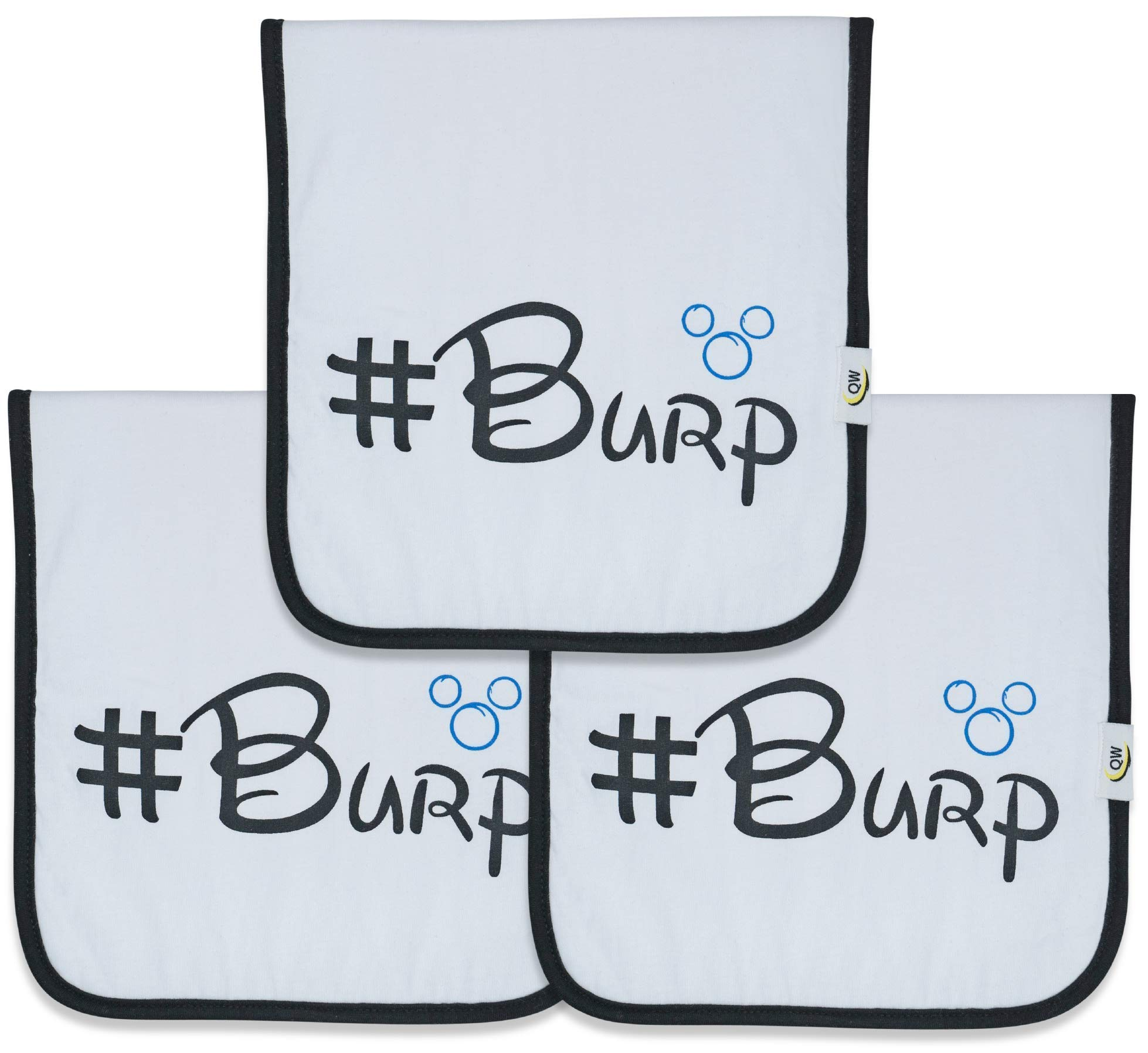 Quality World | Unbelievably THICK Baby Burp Cloths! | Large 21''x 10'' | 100% Organic Cotton | Water Resistant With 6 Absorbent Thick Cotton Layers | 3 Pack With a Premium Unique Design by QW