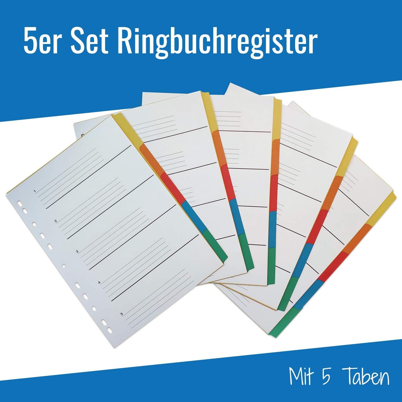 29,6 x 21,1... 5er Set Ringbuchregister Register mit je 5 Taben in 5 Farben