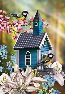 "Briarwood Lane Peaceful Birdhouse Spring Garden Flag Chickadees Floral 12.5""x18"""