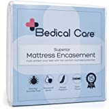 Bedical Care Premium Mattress Protector / Encasement Cover : Hypoallergenic Cotton Terry with Waterproof Coating, Zippered, Velcro Flaps | Protects Against Bed Bugs, Dust Mites & Allergens, Twin XL
