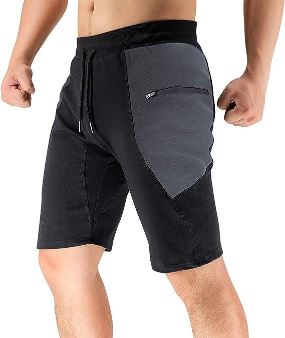 BROKIG Shorts Deportivos para Hombres, Pantalones Cortos Deportivos de Entrenamiento para Correr con Bolsillos con Cremallera