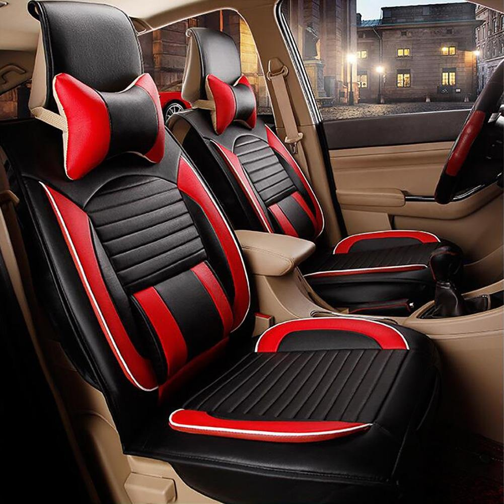 Auto Accessories Four Seasons New All-Inclusive Leather Car Cushion Seat Universal Seasons, Black Red