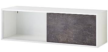 Wandregal mit Schiebetür Farbe Weiß/Basalto dunkel – DIM ...
