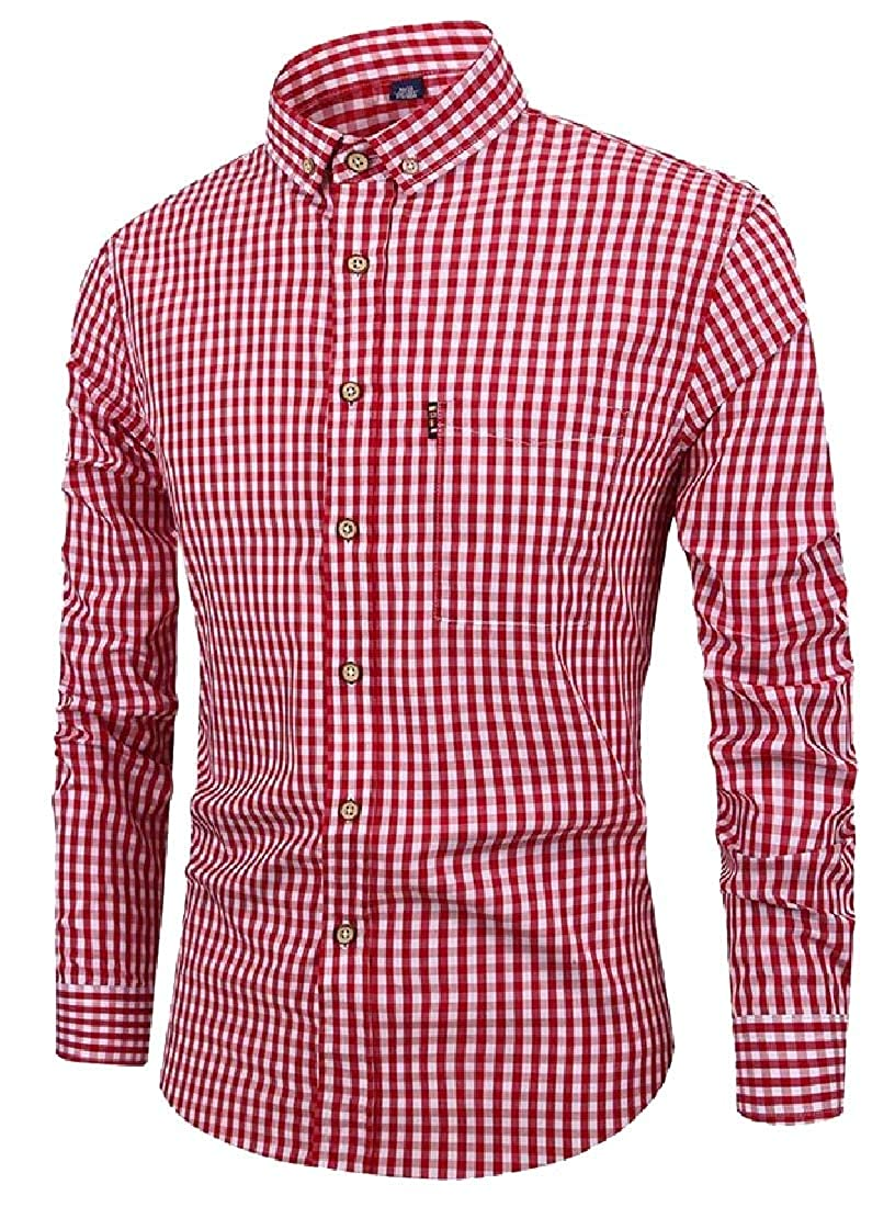 Beloved Men Long Sleeve Shirt Plaid Button Down Shirt