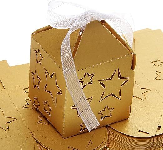 Ultnice 50 cajas para gominolas, caramelos, bombones, etc. Cajas de regalo con lazo para cumpleaños, bautizo, fiesta, bodas, decoración estrellas doradas: Amazon.es: Hogar