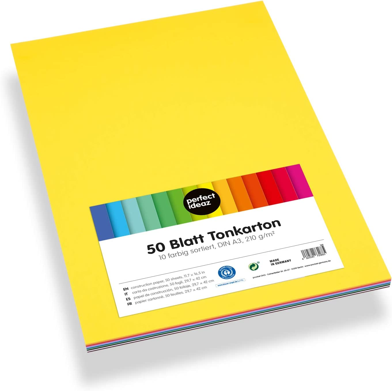Perfect ideaz 50 hoja a3 tono-caja multicolor 210 G de papel para bricolaje coloreada cartón