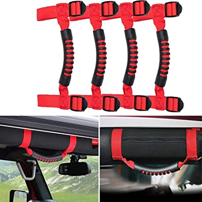 4 x Grab Handles Grip Handle Red Holder Roll Bar Grab Handles for Jeep Wrangler JK Unlimited Rubicon 1955-2020(Red): Automotive