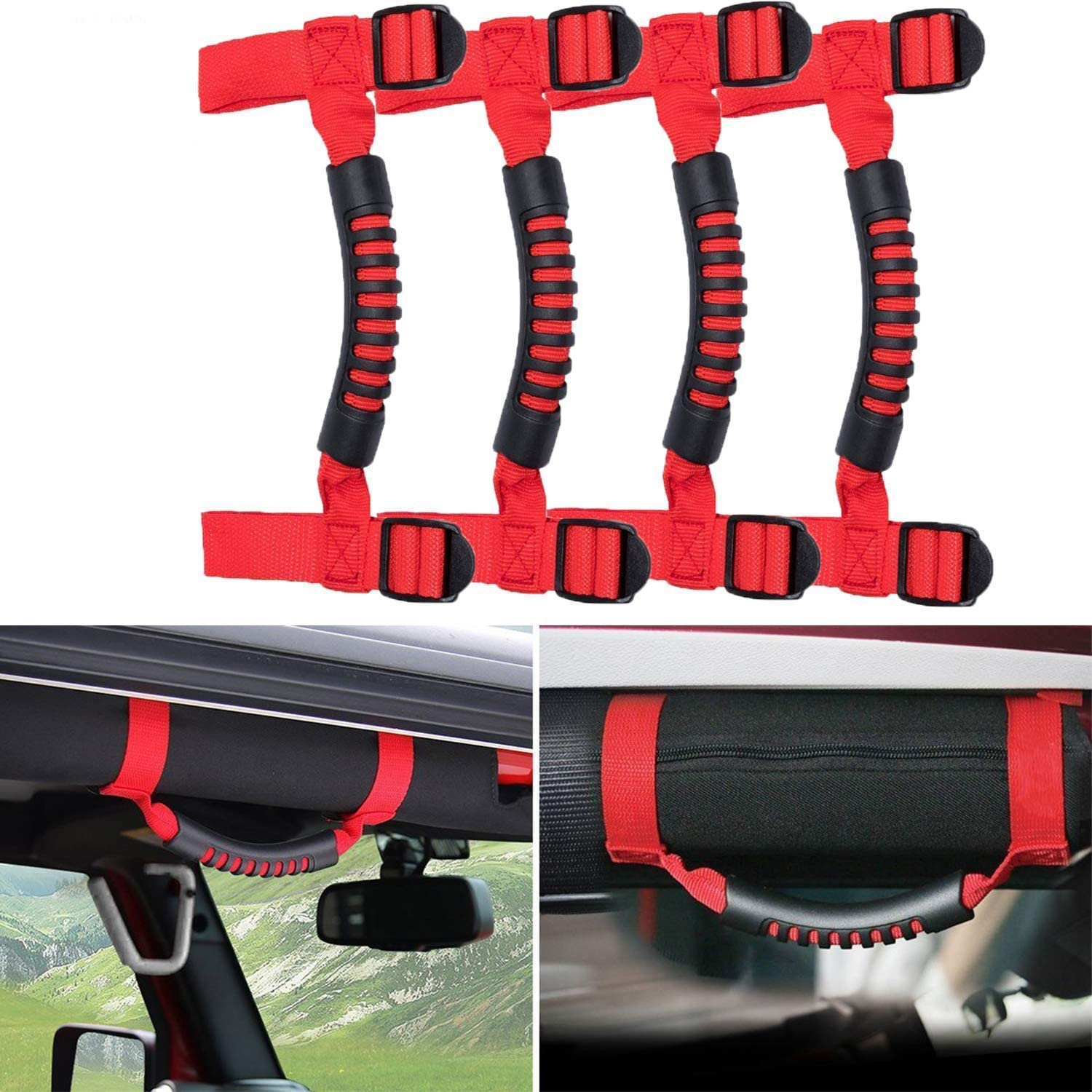4 x Grab Handles Grip Handle Red Holder Roll Bar Grab Handles Compatible for Jeep Wrangler JK Unlimited Rubicon 1955-2018