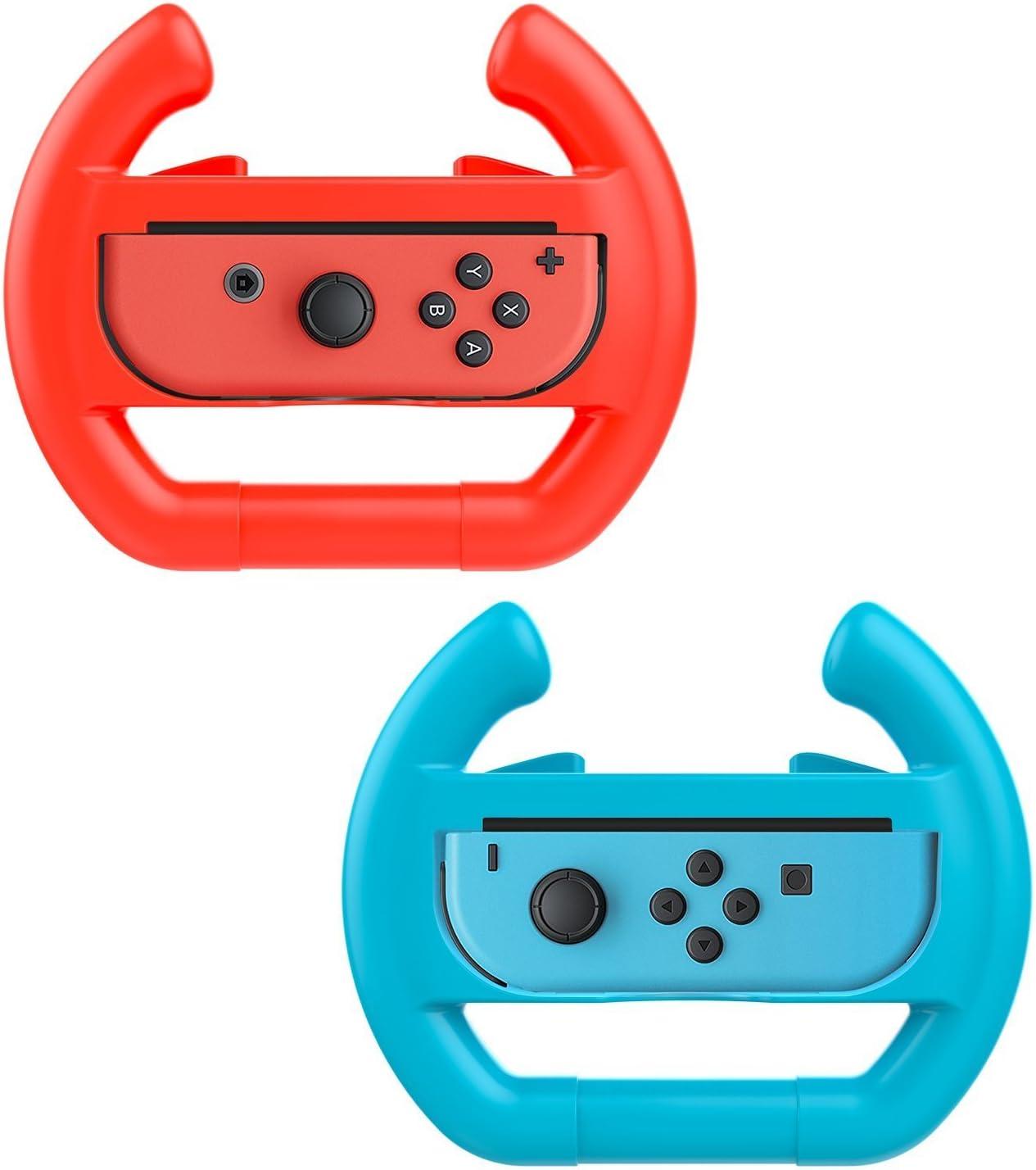 Althemax® 2 x controlador de coche de carreras muelle remoto accesorio de rueda Joy-Con Rojo + azul para Nintendo Switch Mario Car Juegos de Carreras