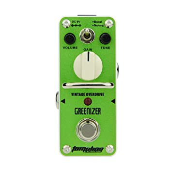 Overdrive effect pedal GREENIZER AGR-3 Vintage overdrive sound based on  Tube Screamer 2 modes boost and normal guitar pedal by Aroma Music brand
