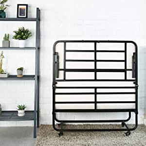 Smile Back Folding Bed Cot Size Foldable Bed Fold up Bed Rollaway Bed with Mattress, Guest Bed Extra Bed Portable Bed with Memory Foam Mattress, Stable Metal Frame, 75