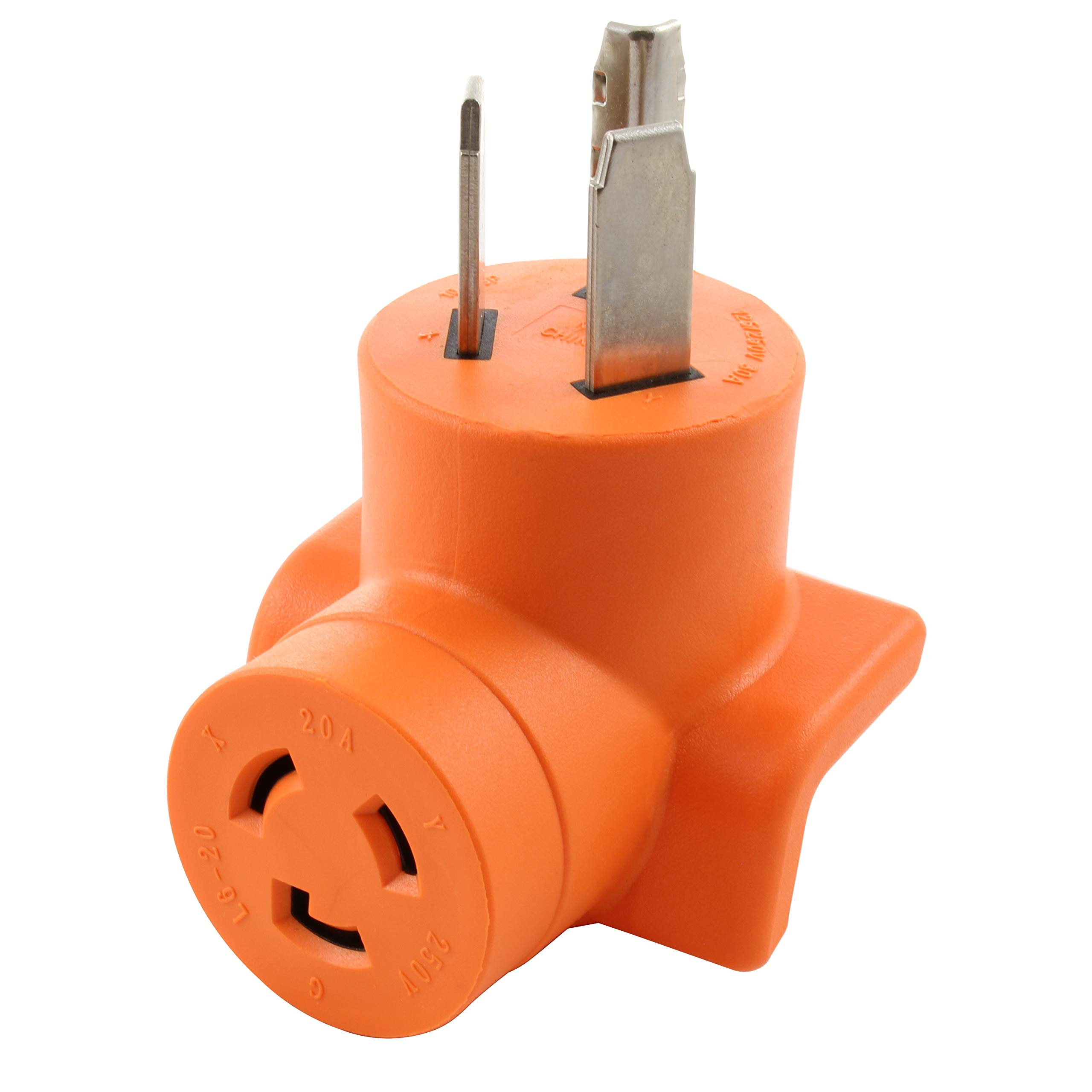 AC WORKS [AD1030L620] 3-Prong Dryer Oulet to L6-20 20Amp 250Volt Locking Female Adapter