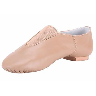 Linodes Women's Leather Upper Jazz Shoe Slip-on with Elastic Top Piece | Ballet & Dance