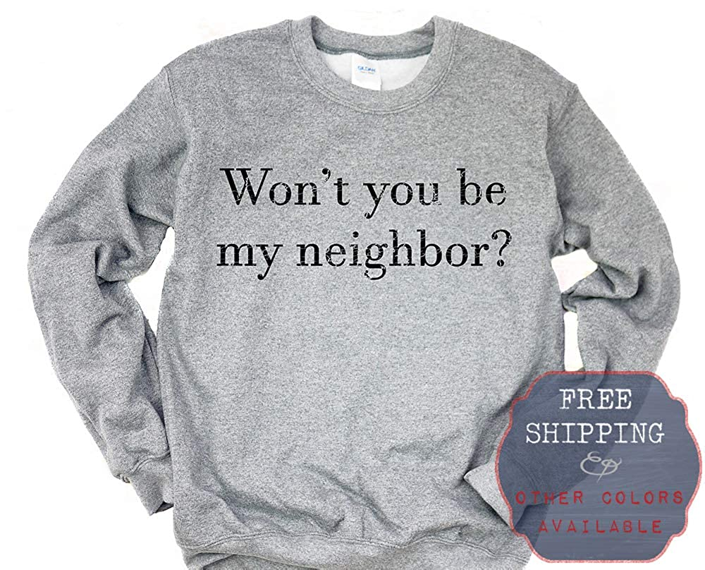 his /& her threads Wont You Be My Neighbor Grunge Graphic Long Sleeve Printed Sweatshirt Shirt