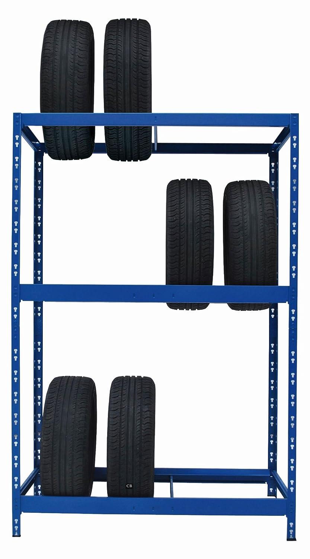196,6 x 130 x 50 cm Werkstattregal Reifenst/änder Garagenregal Schwerlastregal 130 cm breit ✓ blau pulverbeschichtet Reifenregal
