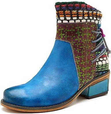 SOCOFY Women Retro Splicing Handmade Weaving Strap Leather Zipper Ankle 2