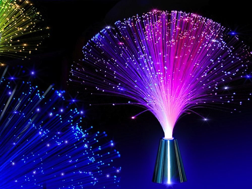 E&A 2Pcs LED Colourful Changing Fibre Fiber Optic Fountain Night light Calming Lamp Christmas by EA (Image #1)