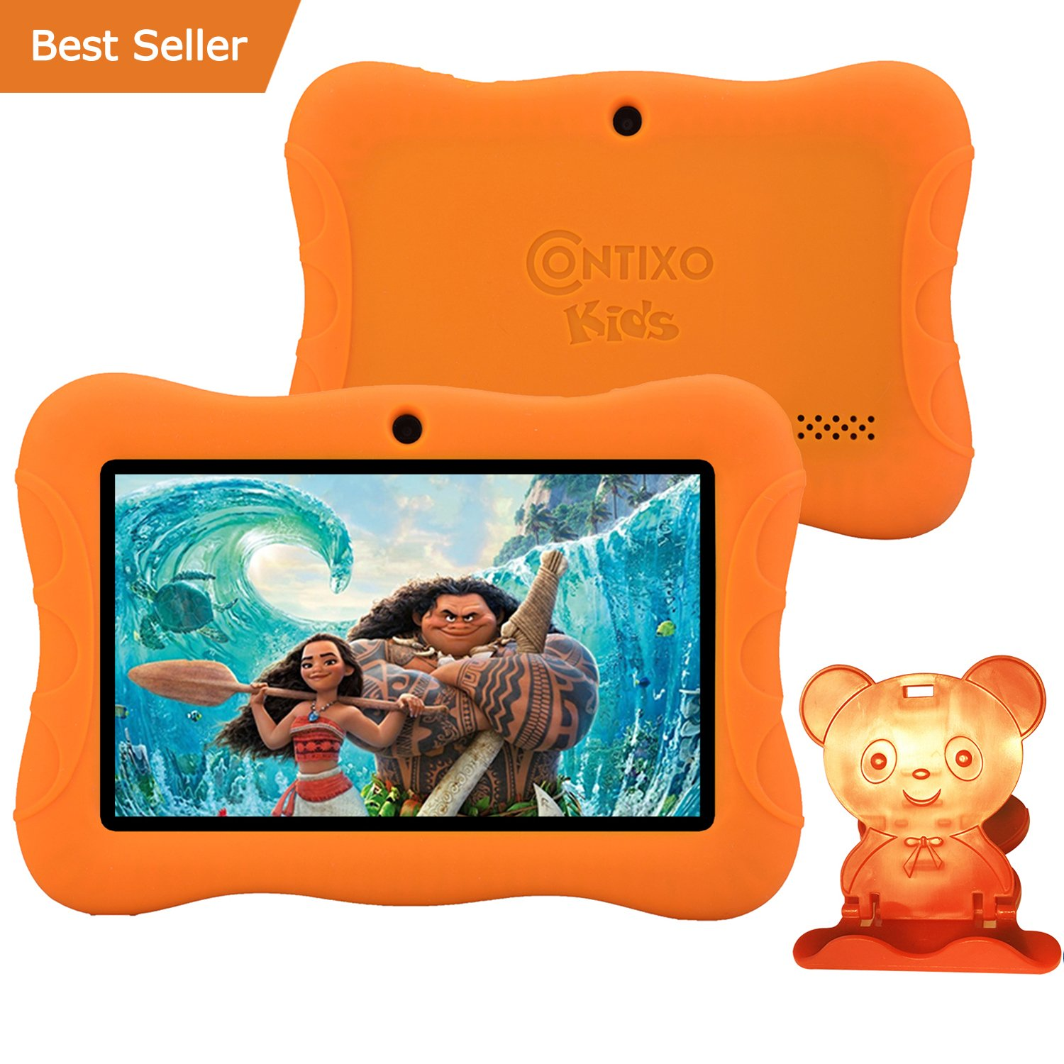 HOLIDAY SPECIAL! Contixo Kid Safe 7'' HD Tablet WiFi 8GB Bluetooth, Free Games, Kids-Place Parental Control W/ Kid-Proof Case (Orange) - Best Gift For Christmas