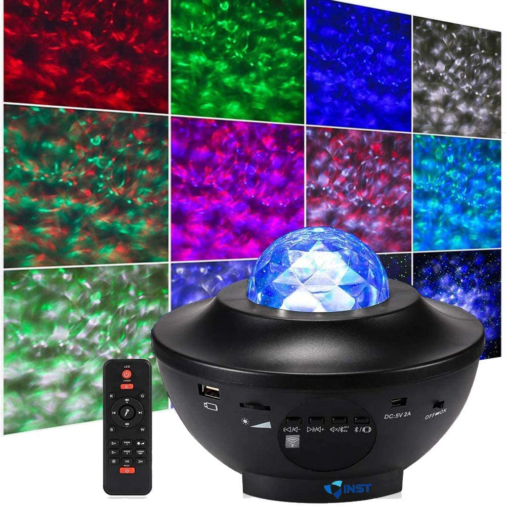INST Star Light Projector for Bedroom Game Rooms, USB Star Light w/LED Star Night Light Projector for Kids, Ocean Wave Star, Built-in Music Player, Gift for All Ages