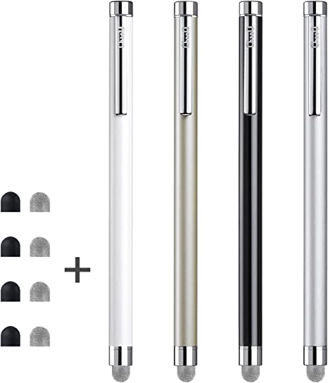 4 Extra Replaceable Hybrid Fiber Tips White, Black, Silver, Blue 4 Pcs 5.0 Inches Hybrid Mesh Fiber Tip Stylus Pens for Touch Screen CCIVV Stylus Kindle Fire iPhone Compatible with iPad