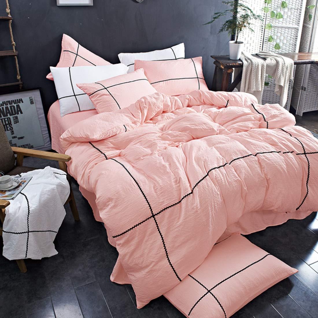 Aikemi kasur 寝具カバーセット 4セット ベッド寝具セット 掛け布団カバー 高級綿 ベッドリネン枕カバー インテリアに適し 抗菌 防臭 (色 : オレンジ, サイズ : 220*240CM) B07SX1MBMJ