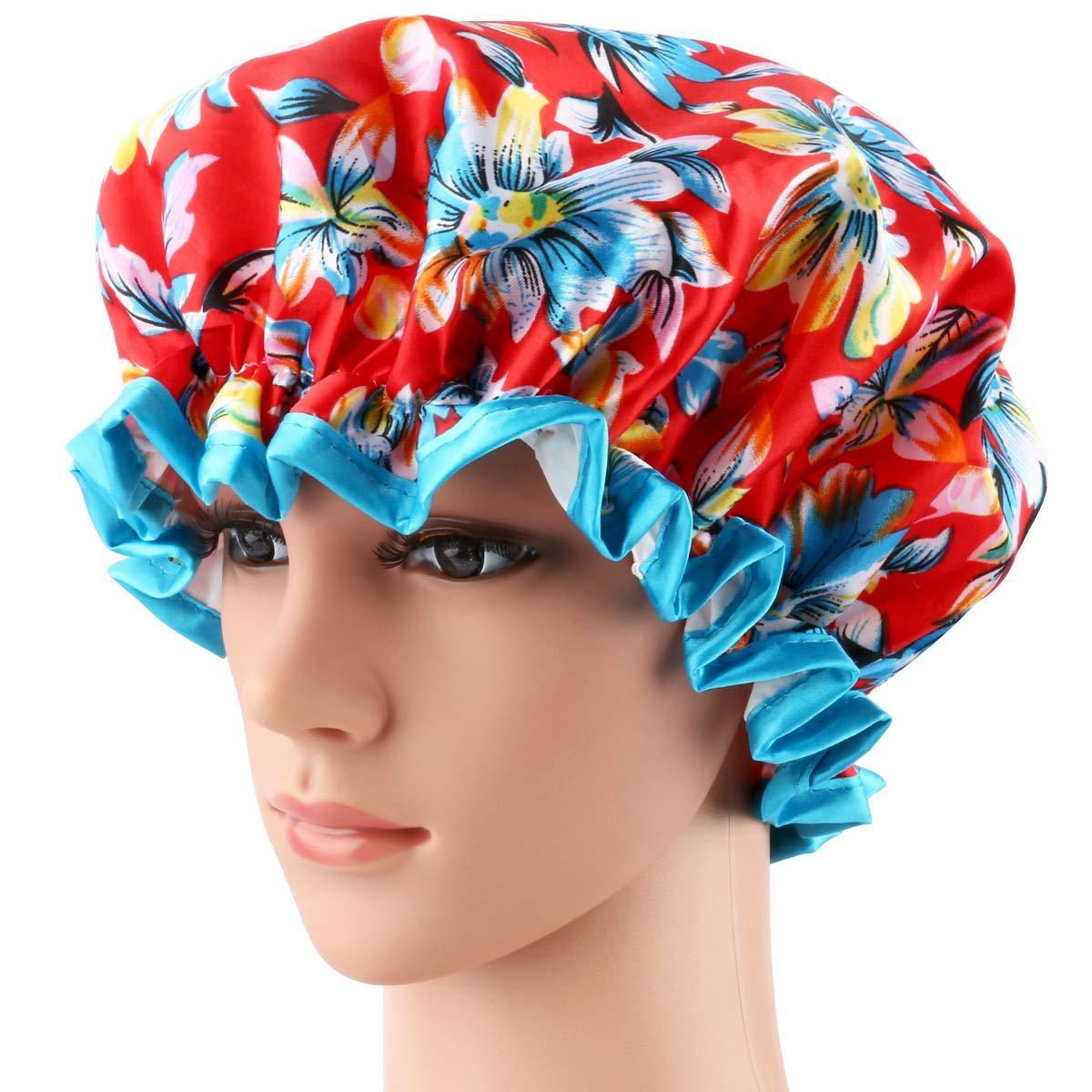 Shower Cap, ESARORA 4 PACK Bath Cap Designed for Women Waterproof Double Layer : Beauty