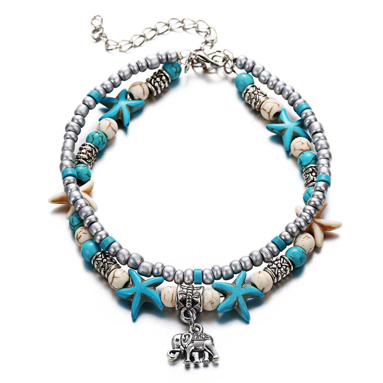 Tree of Life Boho Seed Beads Starfish Beach Elephant Love Heart Anklet Multi Layer Yoga Leg Bracelet Sandals Hippy Summer Charms Foot Chain Jewelry (Elephant)