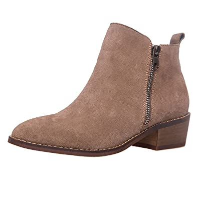64cd0e6c7f8 SheSole Women s Suede Ankle Boots Low Heels Short Camel Booties US 6