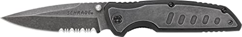 Schrade SCH505S Liner Lock Folding Knife with Partially Serrated Drop Point Blade
