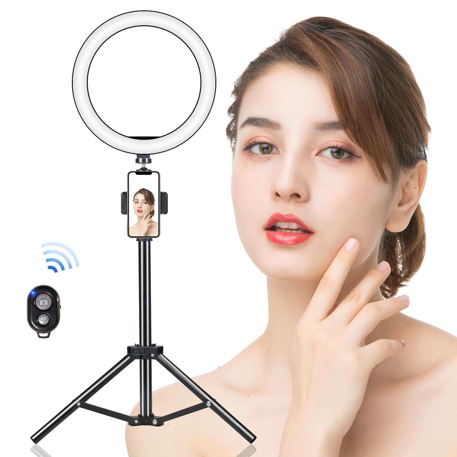 8'' Selfie LED Ring Light with Adjustable Cell Phone Tripod & Holder, FERTOY Light Ring for Live Stream/Makeup/Video, Dimmable Makeup Lamp with 3 Light Modes & 11 Brightness Level, Wireless Remote by FERTOY