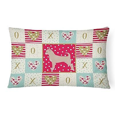 Caroline's Treasures CK5820PW1216 Chihuahua Love Canvas Fabric Decorative Pillow, 12H x16W, Multicolor : Garden & Outdoor