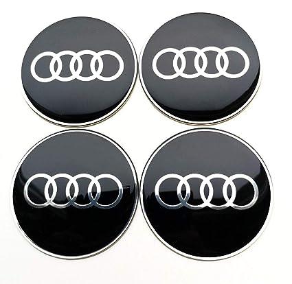 Conjunto de 4 x 65mm pegatinas para central Tapas de rueda, tapacubos AudiLogo autoadhesivas