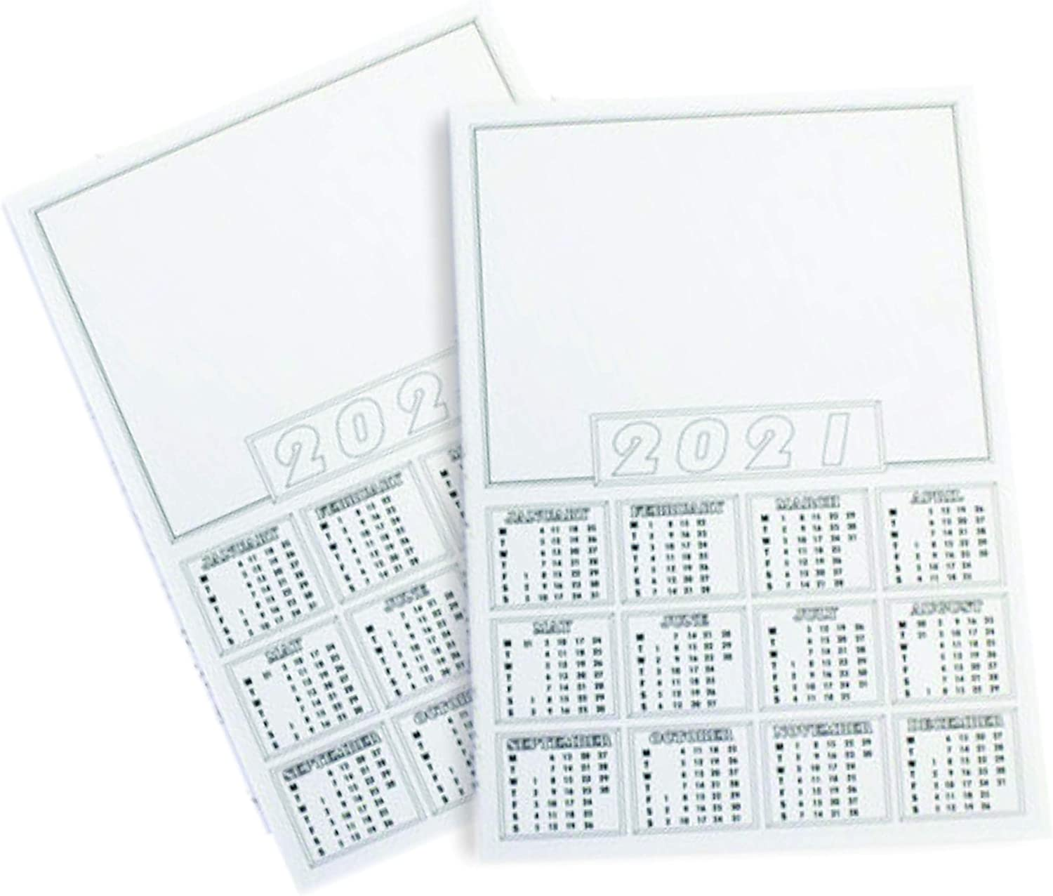 2021 Blank Calendar Wall Planner Organizer A4 Blank Planner White Mini Desk Calendar Year to View Academic Make Your Own Home Student Stationery Office Supplies for Kids to Decorate Pack of 5