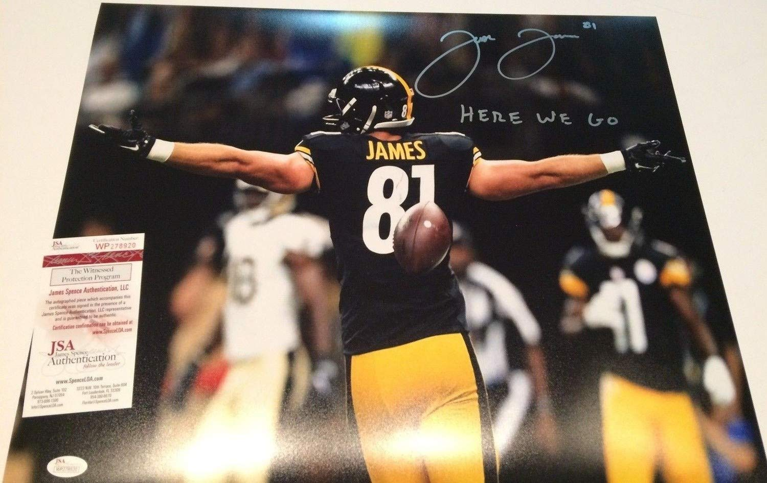 acbc582a217 Jesse James Autographed Signed Inscribed Pittsburgh Steelers 16x20 Photo -  JSA Authentic at Amazon's Sports Collectibles Store