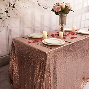 TRLYC One Piece Design Sequin Table Cloth 55 by 80 Inch Shinny Tablecloth Wedding Table Decor Rose Gold Sequin Table Overlay